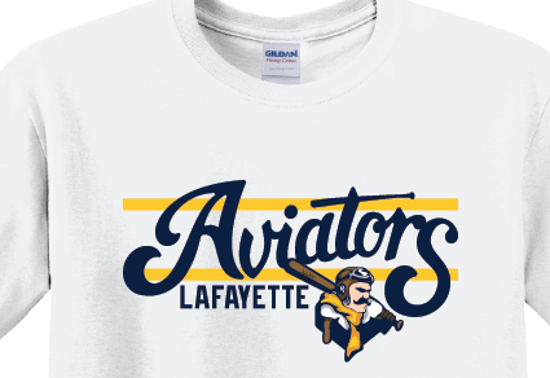 Picture of Aviators Gold Bar Design Long Sleeve - White