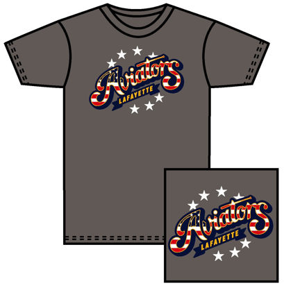 Picture of Red, White & Blue Logo - Grey Shirt